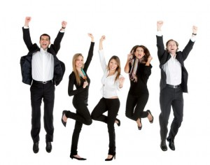 Happy business people